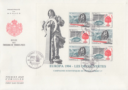 Enveloppe  FDC  1er  Jour   MONACO   Bloc   Feuillet    EUROPA    1994 - Europa-CEPT