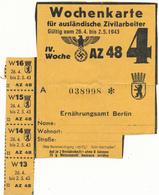 Carte Hebdomadaire D'Alimentation - Travailleur Etranger En Allemagne - STO, WW2 - 1939-45