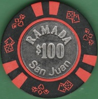 $100 Casino Chip. Ramada, San Juan, Puerto Rico. K53. - Casino