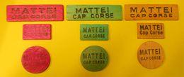 149 Jetons Bois Publicité Mattei Cap Corse Tricolores Pour Jeux Token +91 Vrac Advertasing Vintage - Professionals / Firms