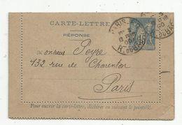Carte Lettre , 1900 , ENTIER POSTAL , 15 , PARIS 80 , R. DU BAC , PARIS 23 , 2 Scans - Entiers Postaux