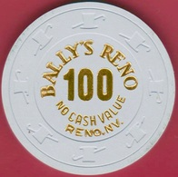 $100 Casino Chip. Bally's, Reno, NV. NCV 1980s. K53. - Casino