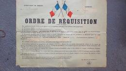 60- BEAUVAIS- AIRION- RARE AFFICHE ORDRE REQUISITION MILITAIRE-CHEVAUX -MINISTERE GUERRE CLERMONT PLACE LIMOGES - Affiches