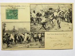 C.P.A. LAOS : Fête Des Fusées Chez  Les Younes, Danse Youne, Timbre En 1908, RARE - Laos