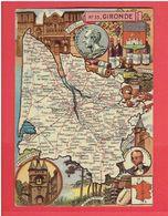 GIRONDE 1949 CARTE GEOGRAPHIQUE DU DEPARTEMENT CARTE EN TRES BON ETAT - Zonder Classificatie
