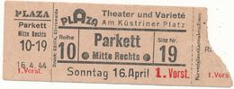 BERLIN, 1944 - Ticket D'Entrée, Théatre Plaza - Tickets D'entrée