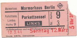 BERLIN, 1944 - Ticket D'Entrée, Marmorhaus, Cinéma - Tickets - Vouchers