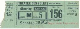 BERLIN, 1944 - Ticket D'Entrée,Theater Des Volkes - Tickets - Vouchers