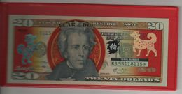 """USA   Genuine $20 Bill  (2013) , Overprinted For Chinese New Year 2018  """"Year Of The Dog""""   With FOLDER - National Currency"""