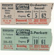 BERLIN, 1944 - 2 Tickets D'Entrée Cirque - Winter Garten - Tickets - Vouchers