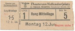 BERLIN, 1944 - Tickets D'Entrée Theateram Nollendorfplatz - Tickets D'entrée