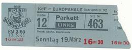 BERLIN, 1944 - Ticket Entrée - Berliner Kleinkunst Bühne, Cabaret - Tickets - Vouchers