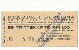 BERLIN - Ticket Entrée - Grosskabarett Berolina - Tickets - Vouchers