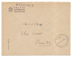 Lettre En Franchise Valentigney Doubs Recouvrements - Marcophilie (Lettres)