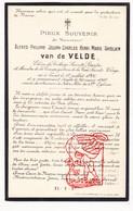 DP Student - Alfred Ph. Van De Velde 17j. ° Gent 1901 † 1919 / Adel Noblesse ? - Devotion Images
