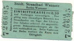 BERLIN - Ticket, Entrée - Städt. Strandbad Wannsee - Plage, Baignade - Tickets - Vouchers