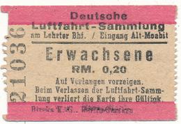 BERLIN - Ticket, Entrée - Deutsche Luftfahrt Sammlung - Exposition De L'Aviation - Tickets - Vouchers