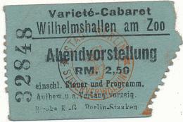 BERLIN - Ticket, Entrée - Varieté Cabaret - Datée 1943 Au Verso - Tickets - Vouchers