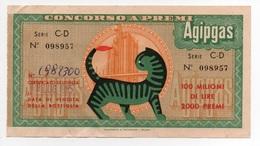 Agip 1955   Biglietto Concorso A Premi Agipgas - Lottery Tickets