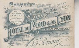 CHAMBERY   CARTE PUB HOTEL DU NORD DE LYON - Chambery