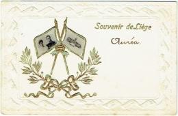 Souvenir De Liège. Drapeaux Avec Photo.  Roi Et Reine Et Liège 1905. - Luik