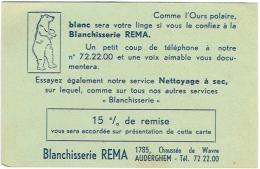 Publicité. Auderghem. Blanchisserie REMA. Ours Blanc. Tarifs Au Dos. - Advertising