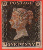 GBR SC #1 U (H, A) P3 1840 Queen Victoria W/red MC CV $425.00 - 1840-1901 (Victoria)