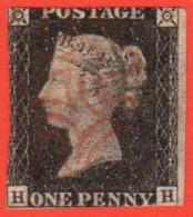GBR SC #1 U (H, H) P2 1840 Queen Victoria 1 Margin CV $390.00 - Used Stamps
