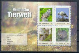 Österreich Bl. 'Uhu Weißstorch Wildkatze Biber' / Austria M/s 'Eagle Owl, White Stork, Wildcat & Beaver' **/MNH 2017 - Unclassified
