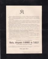 STENAY Maria D'ARODES De TAILLY Veuve Charles-Auber De La BUTTE 80 Ans 1905 CARTIER D'YVES - Décès