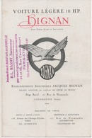 Document Original Voiture Légére 10 Hp BIGNAN Etablissements Jacques Bignan Courbevoie Sur Pneus Michelin - Publicités