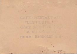 Café Restaurant Les Routiers Chez Mimi Et Max 44 Rue René Alazar à BAGNOLET (Seine)  (93) - Visiting Cards
