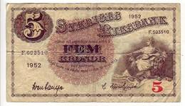 (Billets). Suede. Sveriges Riksbank. 5 Kronor 1952 - Sweden