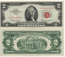 USA   $2 Bill  (dated 1963)  ,   RED SEAL   P382      UNC - Federal Reserve Notes (1928-...)