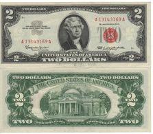 USA   $2 Bill  (dated 1963)  ,   RED SEAL   P382      UNC - Biljetten Van De  Federal Reserve (1928-...)
