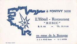 """L'Hôtel Restaurant  """"ROBIC"""" à PONTIVY  56300 Au Coeur De La Bretagne - Visiting Cards"""