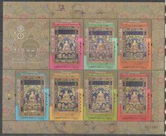 MACAO, 2017, MNH, THANGKA SIX BUDDHAS OF THE PAST, BUDDHISM, SHEETLET - Buddhism
