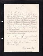 PARIS Marquis De La GRANGE Et De FOURILLES Ancien Mousquetaire 86 Ans 1888 Duc De CAYLUS De LAMBEL - Décès