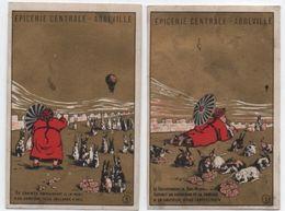 Lot De 2 Chromos à Fond Doré/Epicerie Centrale/Cafés/ Chocolats/Maison A Choux/ABBEVILLE//Vers1890 IMA322 - Andere