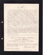BELAN-sur-OURCE Anatole Comte De MELUN Ancien Député  81 Ans 1888 D'HESPEL De DIESBACH De BELLEROCHE - Décès