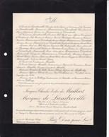NANCY Jacques-Charles De MAILLART Marquis De LANDREVILLE Ancien Conseiller Général MEURTHE-ET-MOSELLE 95 Ans 1910 - Décès