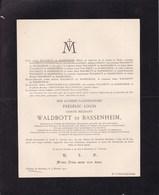 Château De BUXHEIM SOUABE Frédéric-Louis Comte WALDBOTT De BASSENHEIM  65 Ans 1910 - Décès