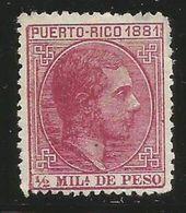 Puerto Rico – España – Spain – Año 1881 Edifil 42* Nuevo C/fijasello - Puerto Rico