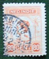 80 Ct Queen Wilhelmina NVPH 131 1913-1931 Gestempeld / Used NEDERLAND INDIE / DUTCH INDIES - Niederländisch-Indien