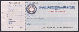 Bank Check/ Chèque Bancaire - BANCO PORTUGUÊS DO ATLÂNTICO - Lisboa, Portugal - Cheques & Traveler's Cheques