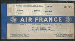 Billet AIR FRANCE  Paris- Genève 1950 Ou 1951 - Europe