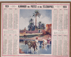 CALENDRIER ALMANACH D' EPOQUE Année 1924 Format 21 X 26 Complet TOZEUR-OASIS Tunisie Carte De La Haute Garonne 31 - Calendriers