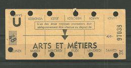 RATP METRO CARTE HEBDOMADAIRE DE TRAVAIL STATION ARTS ET METIERS SEMAINE 48 - Season Ticket