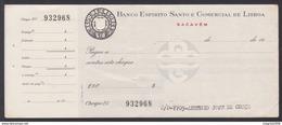 Bank Check/ Chèque Bancaire - BANCO ESPIRITO SANTO & COMERCIAL DE LISBOA - Sacavém, Portugal - Cheques & Traveler's Cheques