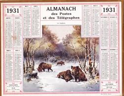 CALENDRIER ALMANACH D' EPOQUE Année 1925 Format 21 X 26 Complet Sanglier Boar Carte De La Haute Garonne 31 - Calendriers